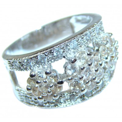 White Cubic Zirconia .925 Sterling Silver handmade Ring s. 6