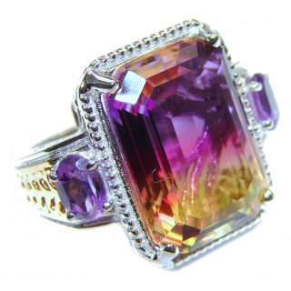 HUGE emerald cut Ametrine .925 Sterling Silver handcrafted Ring s. 6 3/4