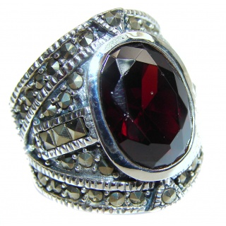 Genuine 26 ct Garnet .925 Sterling Silver handmade Cocktail Ring s. 6