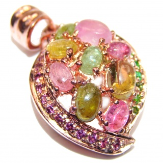Vintage Design Genuine Tourmaline 18K Gold over .925 Sterling Silver handmade Pendant