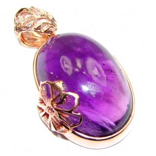 Her Majesty Natural Amethyst Rose Gold over .925 Sterling Silver handmade Pendant