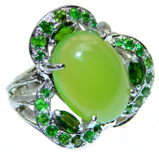 Spectacular Natural Jade .925 Sterling Silver handmade Statement ring s. 6 1/4