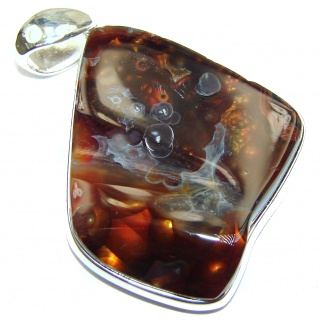 Huge Best Quality Authentic Fire Agate .925 Sterling Silver handmade Pendant
