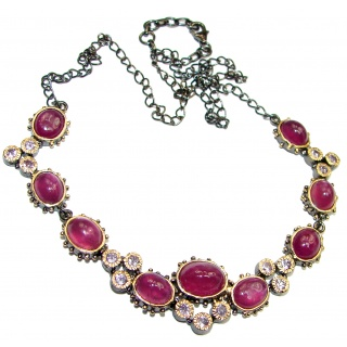 CHic Boho Style Genuine Ruby Rose Gold over .925 Sterling Silver handmade necklace