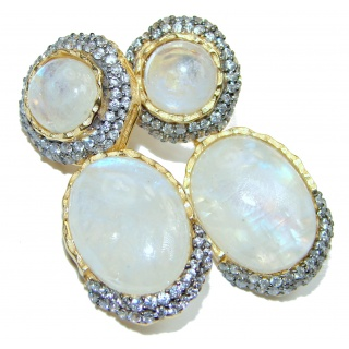 Genuine AAAA quality Rainbow Moonstone 18K Gold over .925 Sterling Silver handcrafted stud Earrings