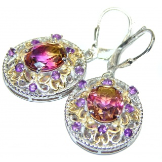 Sublime Bi-color Ametrine .925 Sterling Silver entirely handmade earrings
