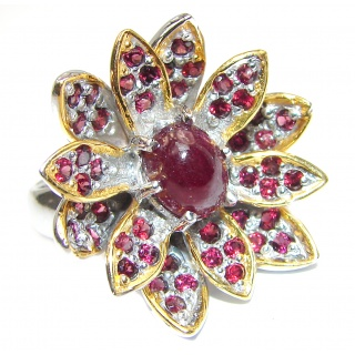 Genuine Garnet 18K Gold over .925 Sterling Silver handmade Cocktail Ring s. 8 1/2