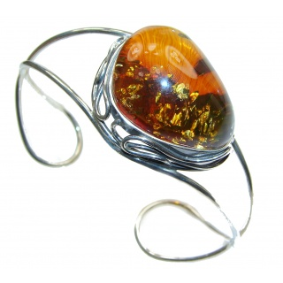 Gorgeous quality Baltic Amber .925 Sterling Silver Bracelet / Cuff