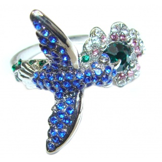 Hummingbird Cubic Zirconia .925 Sterling Silver handmade Ring size 7