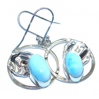Posh Blue Larimar hammered .925 Sterling Silver earrings