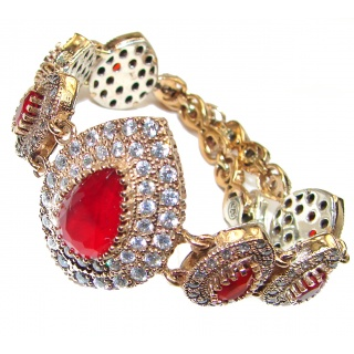 created Red Ruby 14K Rose Gold over .925 Sterling Silver handcrafted Bracelet