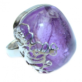 Spectacular 65ct genuine Amethyst .925 Sterling Silver handcrafted Ring size 8 adjustable