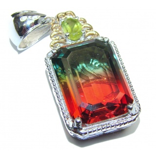 Deluxe Tourmaline color Topaz 14K Gold over .925 Sterling Silver handmade Pendant