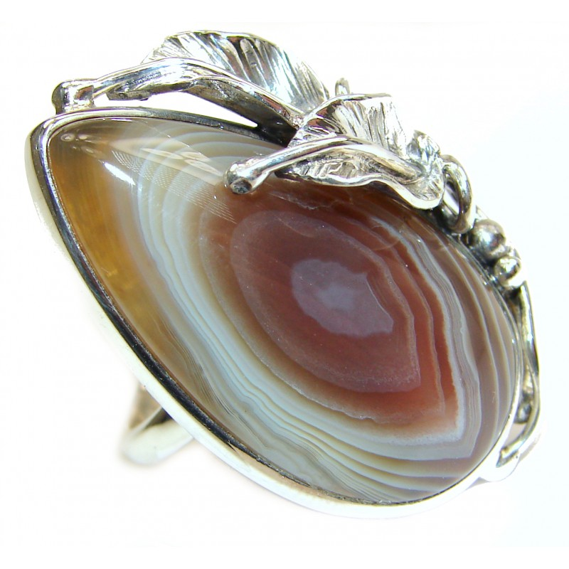 Huge excellent quality Botswana Agate .925 Sterling Silver handcrafted Ring s. 8 adjustable