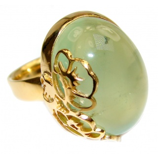 Natural Moss Prehnite 18K Gold over .925 Sterling Silver handmade ring s. 8 adjustable
