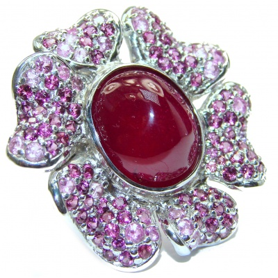 LARGE Genuine Ruby Pink Sapphire 18K Gold over .925 Sterling Silver handmade Cocktail Ring s. 8