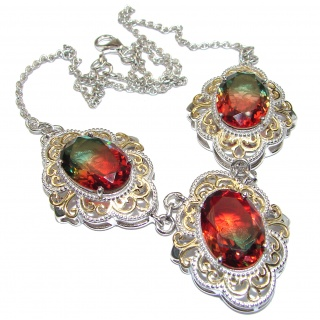Oval cut Watermelon Tourmaline color Topaz 18K Gold over .925 Sterling Silver handcrafted necklace