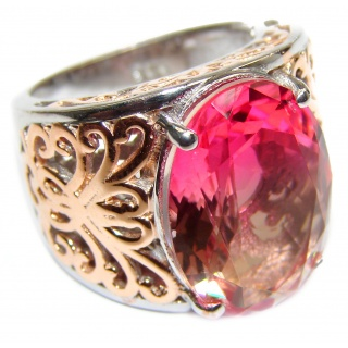 Huge Top Quality Volcanic Pink Tourmaline 18K Gold over .925 Sterling Silver handcrafted Ring s. 6