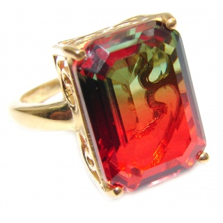 HUGE Top Quality Magic Volcanic Tourmaline 18K Gold over .925 Sterling Silver handcrafted Ring s. 8 1/4