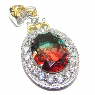 Deluxe Oval cut Tourmaline Topaz 18K Gold over .925 Sterling Silver handmade Pendant