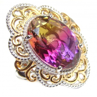 HUGE Oval cut Ametrine 18K Gold over .925 Sterling Silver handcrafted Ring s. 6 1/2