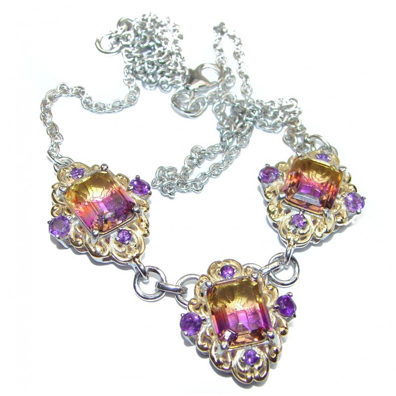 Pear cut Ametrine 18K Gold over .925 Sterling Silver handcrafted necklace