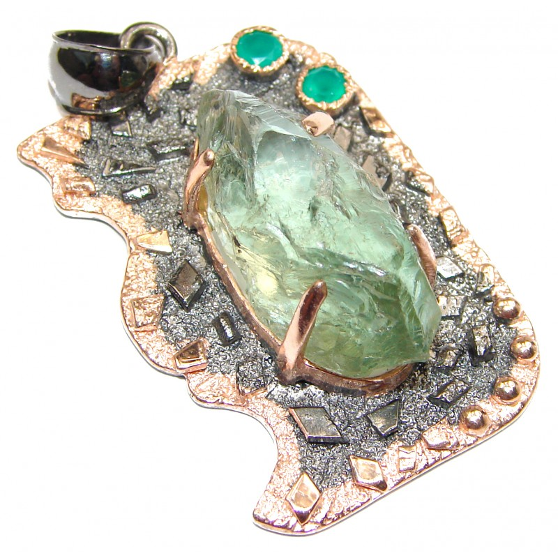 Huge Rough Green Amethyst Rose Gold Rhodium over .925 Sterling Silver Pendant