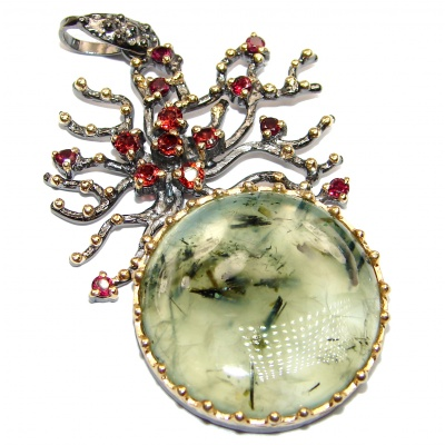 Tree of Life Natural Moss Prehnite 14K Gold .925 Sterling Silver handmade Pendant