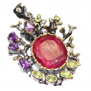 Vintage Design Genuine African Ruby 14K Gold over .925 Sterling Silver handmade Pendant
