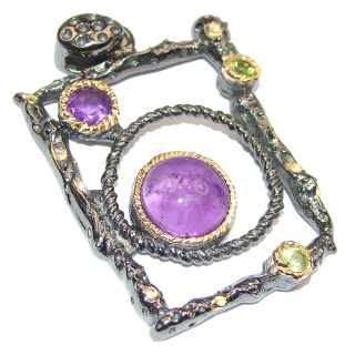Purple Universe Authentic Amethyst 14K Gold over .925 Sterling Silver handcrafted pendant