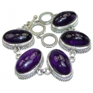 Huge Genuine Amethyst .925 Sterling Silver handcrafted Bracelet / Cuff