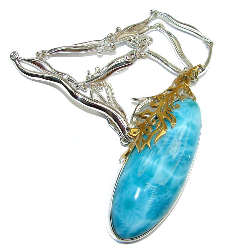 Great large Masterpiece genuine Larimar 18K Gold over .925 Sterling Silver handmade necklace
