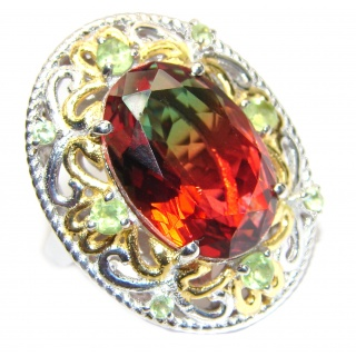 HUGE Watermelon Tourmaline color Topaz 18K Gold over .925 Sterling Silver handcrafted Ring s. 7