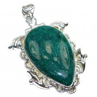 Huge Lucky Green Jade .925 Sterling Silver handcrafted Pendant