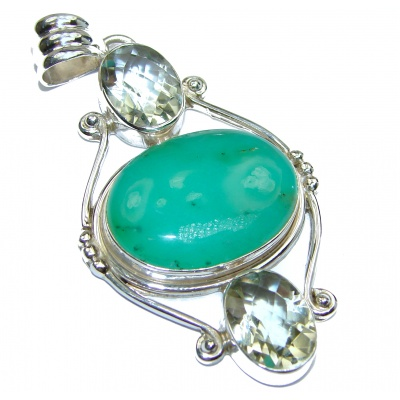 Great Beauty Chrysoprase .925 Sterling Silver handcrafted Pendant