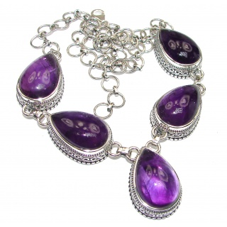 Purple Drops Natural Amethyst .925 Sterling Silver handcrafted necklace