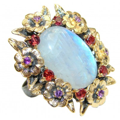 Rainbow Moonstone 18K Gold over .925 Sterling Silver handmade Ring size 7 adjustable