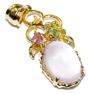 Authentic Rose Quartz 18K Gold over .925 Sterling Silver handcrafted Pendant