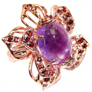 Large Genuine Amethyst Garnet Rose Gold over .925 Sterling Silver handcrafted Statement Ring size 8
