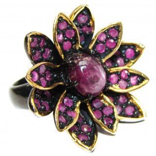 Lotus Natural Star Ruby 24K Gold Rhodium over .925 Sterling Silver handmade Statement ring s. 8