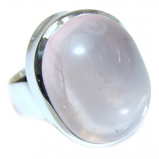 Large Authentic Rose Quartz .925 Sterling Silver handcrafted ring s. 8