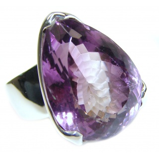 Spectacular 65 CT genuine Amethyst .925 Sterling Silver handcrafted Ring size 7