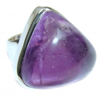 Large Spectacular genuine Amethyst .925 Sterling Silver handcrafted Ring size 8