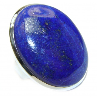 LARGE Natural Lapis Lazuli .925 Sterling Silver handcrafted ring size 8