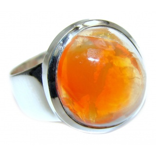 Genuine Mexican Opal .925 Sterling Silver handmade Ring size 9