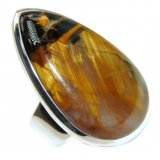 Genuine Silky Golden Pietersite .925 Sterling Silver handcrafted Ring size 9