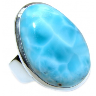Huge Natural Larimar .925 Sterling Silver handcrafted Ring s. 7