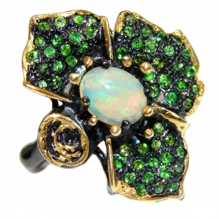 Genuine Ethiopian Opal 24K Gold over .925 Sterling Silver handmade Ring size 8 1/2