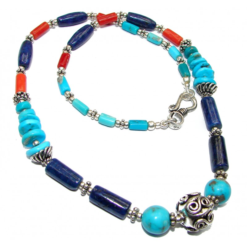 Southwest Design Blue Turquoise & Fossilized Coral Sterling Silver Necklace