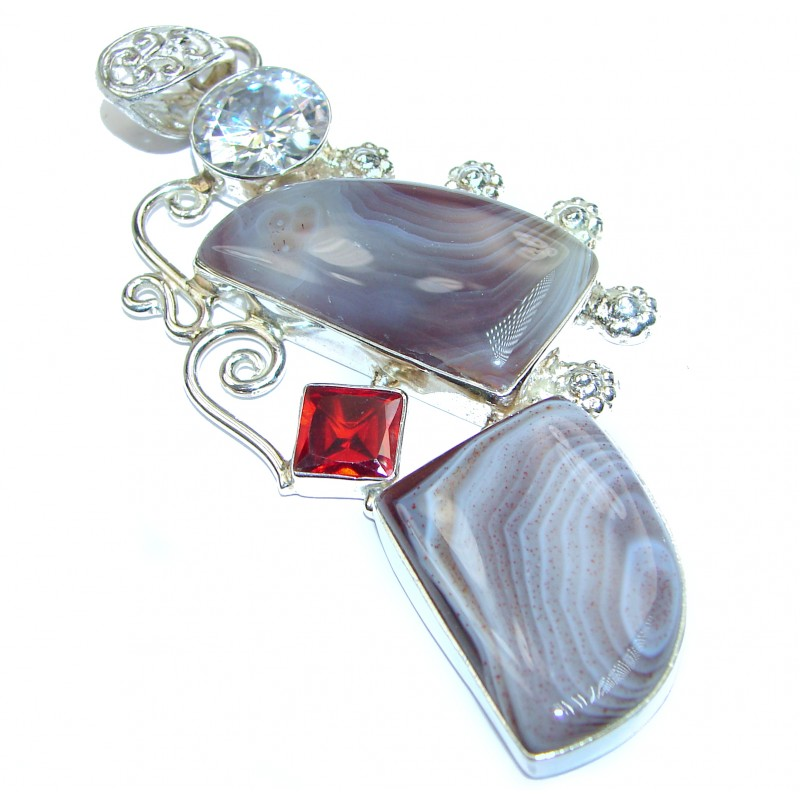 huge Just Perfect Gift Agate .925 Sterling Silver handmade Pendant